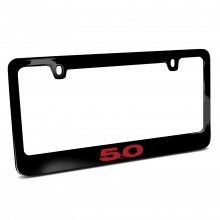 Ford Mustang 5.0 in Red Black Metal License Plate Frame