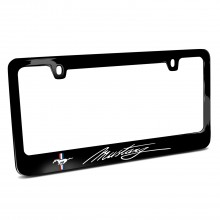 Ford Mustang Script Black Metal License Plate Frame
