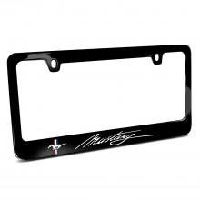 Ford Mustang Script Black Metal License Plate Frame