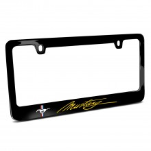 Ford Mustang Script in Yellow Black Metal License Plate Frame