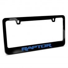 Ford F-150 Raptor in Blue Black Metal License Plate Frame