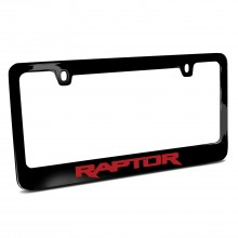 Ford F-150 Raptor in Red Black Metal License Plate Frame