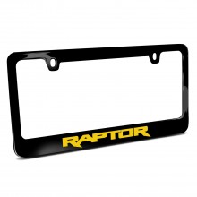 Ford F-150 Raptor in Yellow Black Metal License Plate Frame