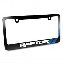 Ford F-150 Raptor Blue Sports Stripe Black Metal License Plate Frame