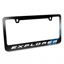 Ford Explorer Blue Sports Stripe Black Metal License Plate Frame