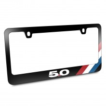 Ford Mustang GT 5.0 Tri-Bar Sports Stripe Black Metal License Plate Frame