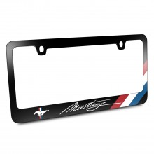 Ford Mustang Script Tri-Bar Sports Stripe Black Metal License Plate Frame