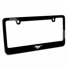 Ford Mustang Pony 3d Chrome Emblem Black Metal License Plate Frame