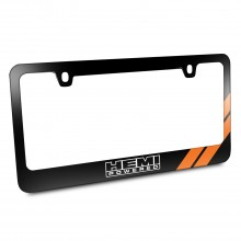 HEMI Powered Orange Stripe Black Metal License Plate Frame