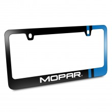 Moper Blue Side Stripe Black Metal License Plate Frame