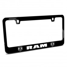 RAM Dual Logos Black Metal License Plate Frame