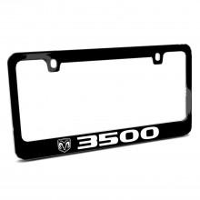 RAM 3500 Logo Black Metal License Plate Frame