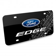 Ford Edge Double Logo Tire Mark Graphic Black Acrylic License Plate