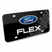 Ford Flex Double Logo Tire Mark Graphic Black Acrylic License Plate