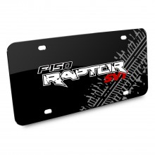 Ford F-150 Raptor SVT Double Logo Tire Mark Graphic Black Acrylic License Plate
