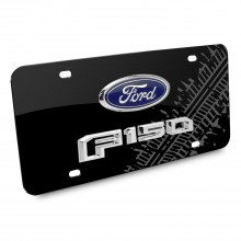 Ford F-150 2015 up Double 3D Logo Tire Mark Black Acrylic License Plate
