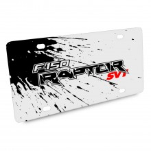 Ford F-150 Raptor SVT Splash Marks Graphic White Acrylic License Plate