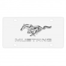 Ford Mustang Double 3D Logo on White Acrylic License Plate