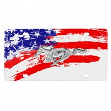 Ford Mustang 3D Chrome Pony American Flag White Acrylic License Plate