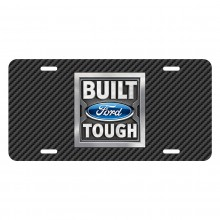 Ford Built Ford Tough Black Carbon Fiber Texture Graphic UV Metal License Plate