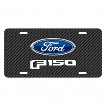 Ford F-150 2015 to 2017 Black Carbon Fiber Texture Graphic UV Metal License Plate