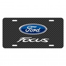 Ford Focus Black Carbon Fiber Texture Graphic UV Metal License Plate