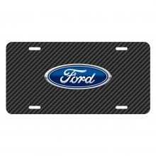 Ford Logo Black Carbon Fiber Texture Graphic UV Metal License Plate