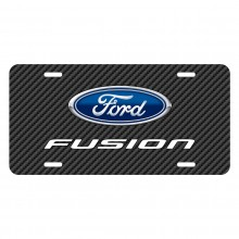 Ford Fusion Black Carbon Fiber Texture Graphic UV Metal License Plate