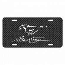 Ford Mustang Script Black Carbon Fiber Texture Graphic UV Metal License Plate