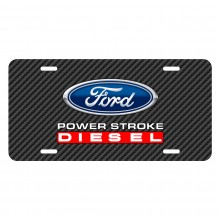 Ford Power Stroke Diesel Black Carbon Fiber Texture Graphic UV Metal License Plate