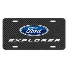 Ford Explorer Black Carbon Fiber Texture Graphic UV Metal License Plate
