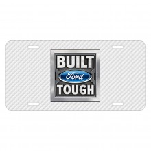 Ford Built Ford Tough White Carbon Fiber Texture Graphic UV Metal License Plate