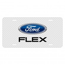 Ford Flex White Carbon Fiber Texture Graphic UV Metal License Plate