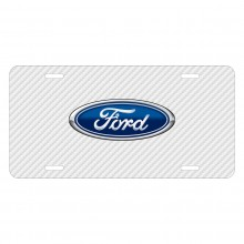 Ford Logo White Carbon Fiber Texture Graphic UV Metal License Plate