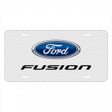Ford Fusion White Carbon Fiber Texture Graphic UV Metal License Plate