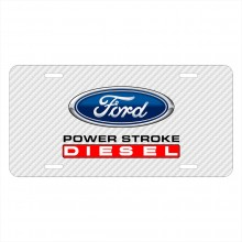 Ford Power Stroke Diesel White Carbon Fiber Texture Graphic UV Metal License Plate