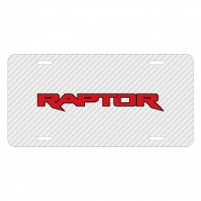 Ford F-150 Raptor 2017 in Red White Carbon Fiber Texture Graphic UV Metal License Plate