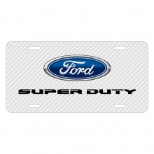 Ford Super-Duty 2016 to 2017 White Carbon Fiber Texture Graphic UV Metal License Plate