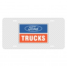 Ford Trucks White Carbon Fiber Texture Graphic UV Metal License Plate