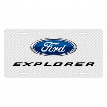 Ford Explorer White Carbon Fiber Texture Graphic UV Metal License Plate