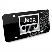 Jeep 3D Grill Logo Tire Mark Black Metal License Plate