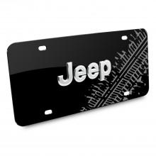 Jeep 3D Logo Tire Mark Black Metal License Plate