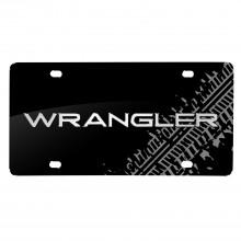 Jeep Wrangler 3D Logo Tire Mark Black Metal License Plate