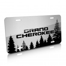 Jeep Grand Cherokee Forrest Sillhouette Graphic Brush Aluminum License Plate