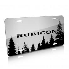 Jeep Rubicon Forrest Sillhouette Graphic Brush Aluminum License Plate