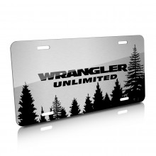 Jeep Wrangler Unlimited Forrest Sillhouette Graphic Brush Aluminum License Plate