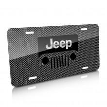Jeep Grill Logo Mesh Grill Graphic Aluminum License Plate
