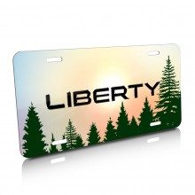 Jeep Liberty Green Forrest Sillhouette Graphic Aluminum License Plate