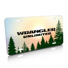 Jeep Wrangler Unlimited Green Forrest Sillhouette Graphic Aluminum License Plate
