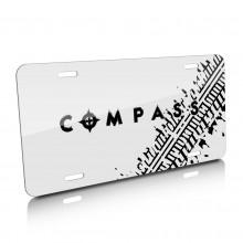 Jeep Compass Tire Mark Graphic White Aluminum License Plate